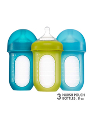 Boon Nursh Silicone Bottle, 236ml, 3 Pieces, Blue/Green