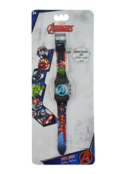 Marvel Avengers Digital Watch for Boys, Silicone Strap, with 3D Rubber Head and Colorful Flashing Light, 3+ Years, Plastic, One Size, Multicolor