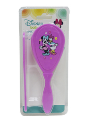 Disney 2 Pieces Comb & Soft Brush Set for Baby Girls, Minnie Mouse, Pink