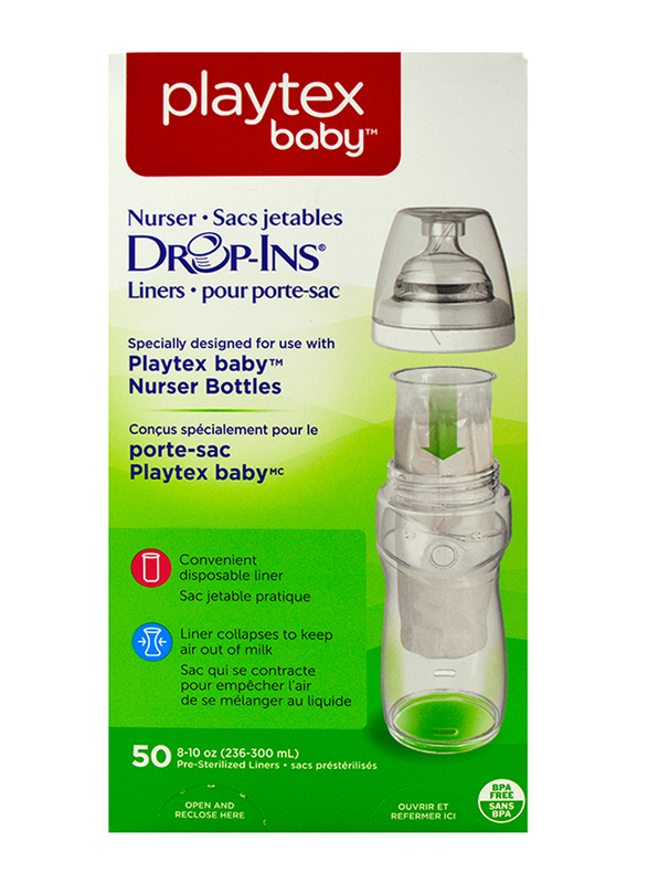 Playtex Anti-Colic Drop-Ins Liners, 236-300ml, 50 Pieces, Clear