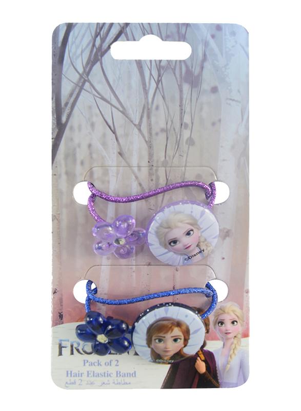 Disney Frozen II Hair Elastics Bands Set for Girls, 4-Pieces, Lavender/Blue