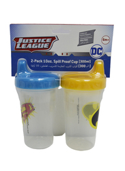 Disney BPA Free Baby Sippy Cup, 12 Months+, 300ml, 2 Pieces, Batman/Superman, Blue/Yellow