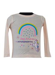 Hasbro MLP Rainbow Long Sleeve T-Shirt for Infant Girls, 12-18 Months, Beige