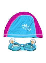 Disney 2-Piece Frozen Swim Cap & Goggle Set for Girls, Silicone, Free size, Blue