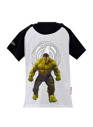 Disney Avengers Infinity War Hulk Short Sleeve T-Shirt for Boys, 7-8 Years, Black/White