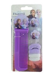 Disney Frozen II Comb + Ear Ring + Hair Elastics Set for Girls, White/Lavender