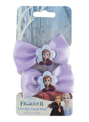 Disney Frozen II Hair Elastics Bands Set for Girls, 2-Pieces, Blue/Lavender