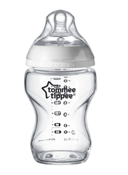 Tommee Tippee Closer to Nature Glass Feeding Bottle Unisex, 250ml, Clear