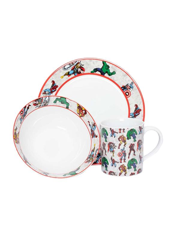 Marvel Marvel Comics Ceramic Dinnerware Breakfast Set for Boys, 3 Pieces, Multicolor