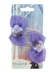 Disney Frozen II Hair Clips Set for Girls, with Glossy Metal Tic Tac Ribbon, 2-Pieces, Purple