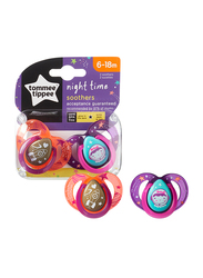 Tommee Tippee Closer to Nature Night Time Soother Unisex, 6-18 Month, Rocket Ship Girl, 2-Pieces, Blue