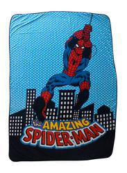 Marvel Marvel Comics the Amazing Spider-Man Comics Kids Light Weight Flannel Blanket, 160 x 220cm, Blue/Black