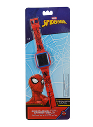 Marvel Spiderman Digital Watch for Boys, with Bright LED Light Cartoon Display, 3+ Years, Plastic, One Size, Red