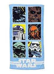 Lucas Star Wars Beach Bath Towel for Boys, 70 x 140cm, Blue/Black
