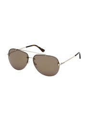 Tom Ford Full Rim Aviator Silver Sunglasses Unisex, Brown Lens, FT-058428G63, 63/12/140