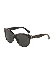 Dolce & Gabbana Full Rim Cat Eye Top Rose On Black Sunglasses for Girls, Grey Lens, DG4176-293887, 49/15/125