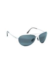 Maui Jim Polarized Full Rim Aviator Silver Sunglasses Unisex, Grey Lens, MJ-210, 63/18/120