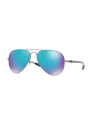 Ray-Ban Full Rim Aviator Gunmetal Sunglasses Unisex, Blue Mirrored Lens, RB8317CH-029/A1, 58/14/140