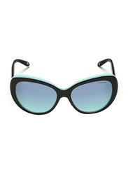 Tiffany&Co Full Rim Cat Eye Black/Blue Sunglasses for Women, Gradient Blue Lens, TF-4122-80559S, 56/16/140