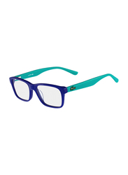 Lacoste Full-Rim Square Blue Azure Computer Glasses for Kids, with Blue Light Filter, Clear Lens, 8-13 Years, LA-L3612-424-49-BC, 49/16/135