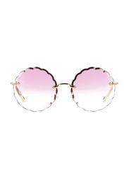Chloe Full Rim Round Silver Sunglasses for Women, Pink Gradient Lens, CL-CE142S-818, 60/17/140
