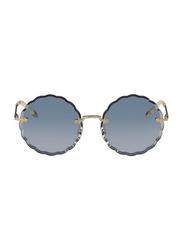 Chloe Full Rim Round Silver Sunglasses for Women, Blue Lens, CL-CE142S-816, 60/17/140