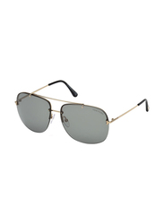 Tom Ford Full Rim Square Silver Sunglasses Unisex, Grey Lens, FT-062028A62, 62/14/140
