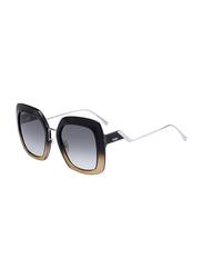 Fendi Full Rim Square Black Crystal Sunglasses for Women, Grey Gradient Lens, FN-0317/S-7C553PR, 53/23/140