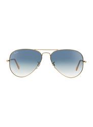 Ray-Ban Full Rim Aviator Gold Sunglasses Unisex, Light Blue Gradient Lens, RB3025-001/3F, 58/14/135