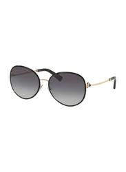 Bvlgari Full Rim Oval Black/Gold Sunglasses for Women, Grey Gradient Lens, BV6106B-20338G, 59/17/135