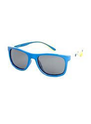 Polaroid Full Rim Rectangle Blue/Yellow Print Sunglasses for Boys, Grey Blue Lens, PLD-8012/S-MDY46JY, 46/16/127
