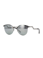 Fendi Half-Rim Cat Eye Metallic Sunglasses for Women, Grey Lens, FN-0040/S-KJ160T4, 60/17/135