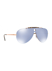 Ray-Ban Full Rim Aviator Gold Sunglasses Unisex, Blue Mirrored Lens, RB3581N-90351U, 32/32/140