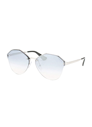 Prada Full Rim Octagonal Silver Sunglasses for Women, Blue Lens, PA-64TS-1BC5R0, 66/15/140