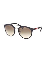 Prada Linea Rossa Full Rim Round Black Sunglasses Unisex, Grey Lens, PS-04RS-DG00A7, 54/21/135