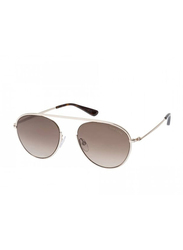 Tom Ford Full Rim Aviator Silver Sunglasses Unisex, Brown Lens, FT-059928K55, 55/19/145
