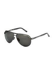 Porsche Design Full Rim Aviator Black Sunglasses for Men, Black Lens, PD-8649A, 62/10/140