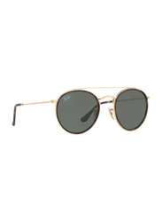 Ray-Ban Full Rim Round Gold Sunglasses Unisex, Black Lens, RB3647N-001, 51/22/145