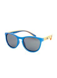 Polaroid Full Rim Square Blue Orange Printed Sunglasses for Boys, Blue Mirrored Lens, PLD-8013/S-ME246JY, 46/16/127