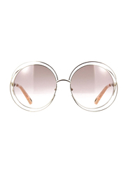 Chloe Full Rim Round Silver Sunglasses for Women, Pink Lens, CL-CE114SD-724, 62/18/135