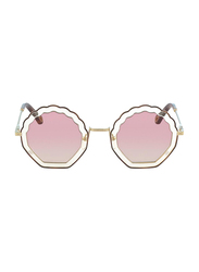 Chloe Full Rim Round Silver Sunglasses for Women, Pink Lens, CL-CE147S-257, 56/18/140