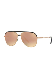 Bvlgari Full Rim Aviator Black/Rose Gold Sunglasses for Men, Rose Gold Mirrored Lens, BV5047Q-20134Z, 59/14/145