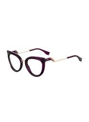 Fendi Full Rim Cat Eye Plum Frame for Women, FN-0334-0T75121, 51/21/140
