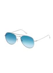 Tom Ford Full Rim Aviator Silver Sunglasses Unisex, Blue Lens, FT-055118X55, 55/17/140