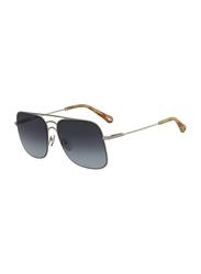 Chloe Full Rim Square Silver Sunglasses for Women, Blue Gradient Lens, CL-CE140S-806, 58/16/140