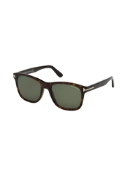 Tom Ford Full Rim Rectangle Tortoise Sunglasses for Men, Grey Lens, FT-059552N55, 55/19/145