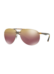 Ray-Ban Polarized Full Rim Aviator Tortoise Sunglasses Unisex, Gold/Pink Gradient Mirrored Lens, RB4293CH-710/6B, 65/13/140