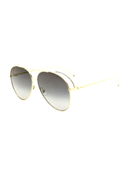 Fendi Full Rim Aviator Gold Sunglasses for Women, Grey Gradient Lens, FN-0286/S-J5G63FQ, 63/13/135