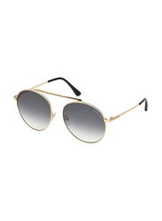 Tom Ford Full Rim Round Gold Sunglasses for Women, Grey Gradient Lens, FT-057128B58, 54/17/140