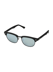 Ray-Ban Full Rim Clubmaster Black Sunglasses for Kids, Blue Silver Mirrored Lens, RJ9050S-100S30, 45/16/125
